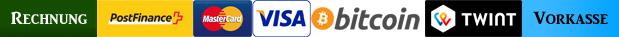 Bezahlmöglichkeiten: Rechnung, Postfinance, Mastercard, Visa, TWINT, Bitcoin, Vorkasse