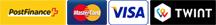 Icons Bezahlen mit Postfinance, MasterCard, Visa, Twint