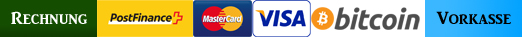 Bezahlm�glichkeiten: Rechnung, Postfinance, Mastercard, Visa, Bitcoin, Vorkasse