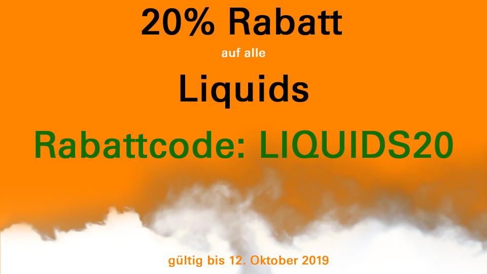 20 Prozent Rabatt auf alle Liquids