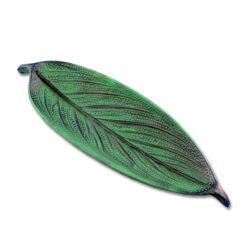 Räucherstäbchenhalter Blatt grün aus Weissmetall 25cm kaufen online