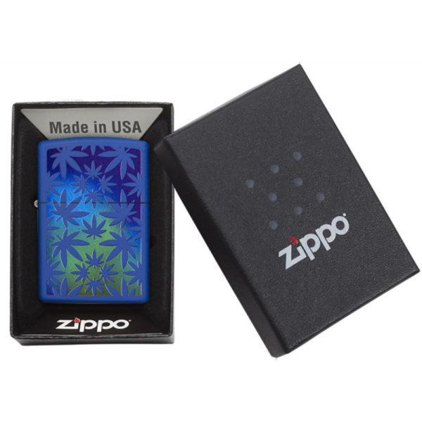 Zippo Feuerzeug Weed Hemp Design Farbig Blau Geschenkbox bestellen online shop schweiz günstig