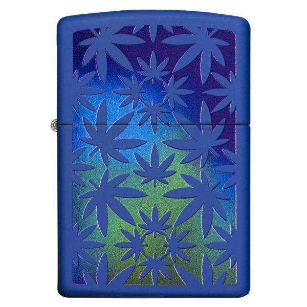 Zippo Feuerzeug Weed Hemp Design Royal BlueFarbig Blau bestellen online shop schweiz günstig