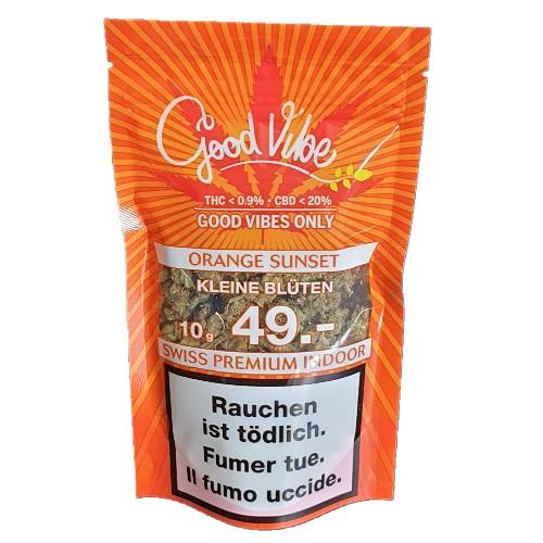 Goodvibe Orange Sunset Indoor CBD Hanf Gras kaufen online Shop Schweiz Kleine Blüten günstig