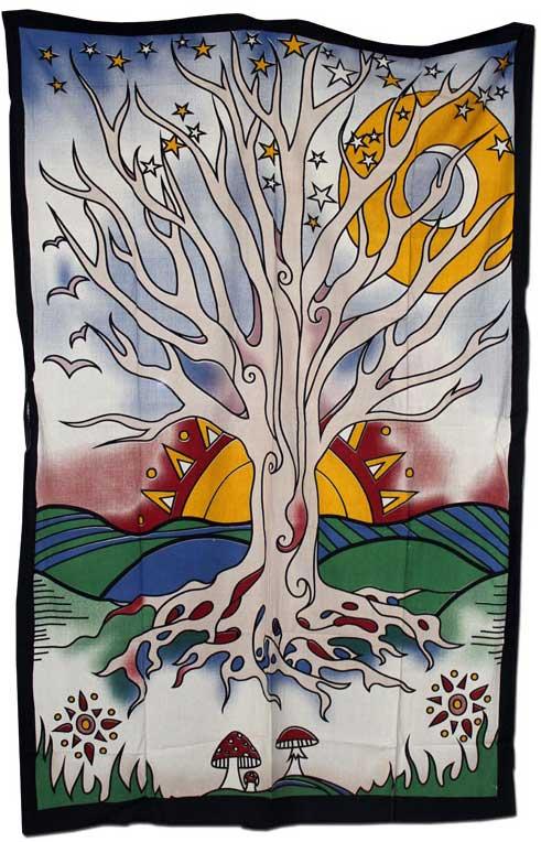Batik Tuch Tree of Life Lebensbaum 140 x 210 cm kaufen günstig online Shop Schweiz