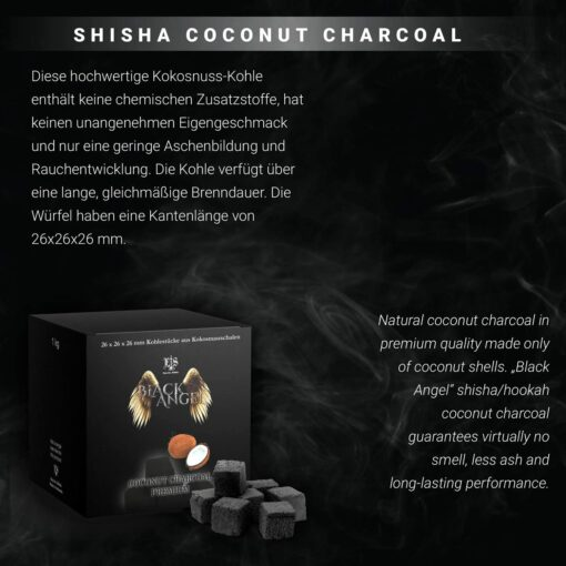 Black Angel Shisha Kohle 1 kg Kilo Premium Natural Coconut Characoal 64 tück Rückseite kaufen schweiz online shop günstig