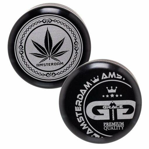Grace Glass 5 teiliger Grinder schwarz Black 50mm Durchmesser oben Leaf unten Amsterdam kaufen schweiz günstig online shop